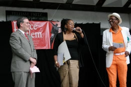2007 Dance Harlem Festival. Manhattan Borough President Scott Stringer, Promoter Valerie Jo Bradley, Emcee George Faison in the Richard Rogers Amphitheater in Marcus Garvey Park