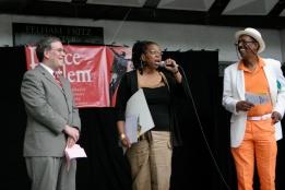2007 Dance Harlem Festival. Manhattan Borough President Scott Stringer, Promoter Valerie Jo Bradley, Emcee George Faison in the Richard Rogers Amphitheater in Marcus Garvey Park
