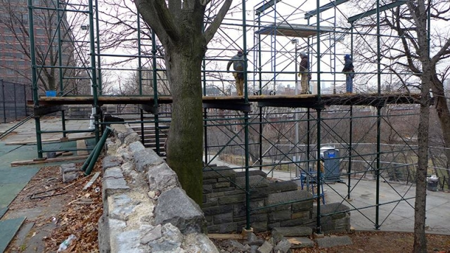January 6th 2015 Scaffolding extending past the Acropolis which will be used to lower individual pieces of the tower onto trucks that will take the crated pieces to storage.