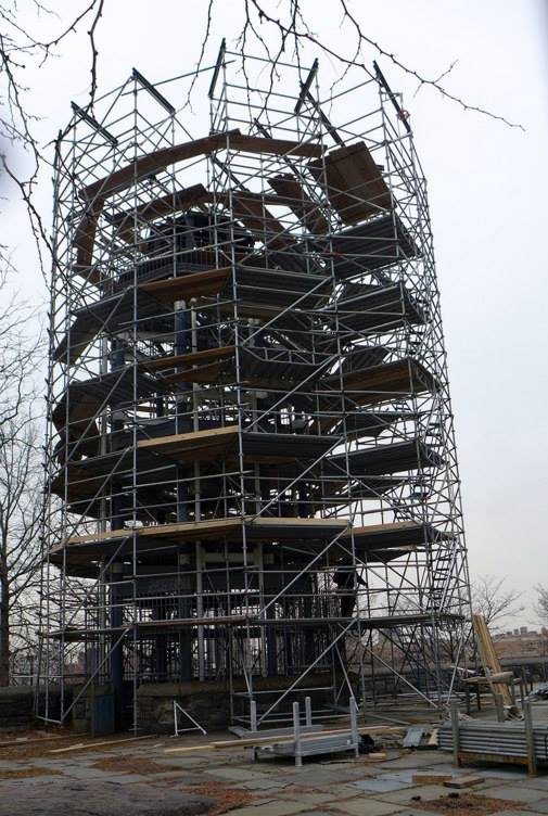 January 6th Scaffolding complete around the tower. Photo Lynn Lieberman.