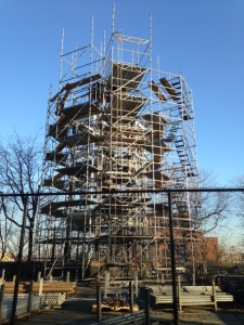 December 26, 2014 Scaffolding begins go up around the fire watchtower.