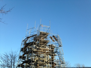 December 26, 2014 Scaffolding beginning to be installed around the fire watchtower. Photo Connie Lee