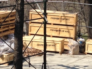 Crates ready to be filled with individual pieces of the fire watchtower and transported to Fort Toten for storage.