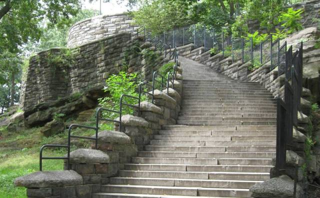 The stairs leading up to the acropolis located on the East side of Marcus Garvey Park.